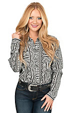 Roper Women's Black & White Aztec Stripe Long Sleeve Western Shirt