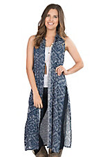 Roper Women's Blue Bandana Print Sleeveless Duster