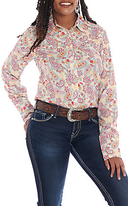 Roper Women's Cream Paisley Print Long Sleeve Western Shirt