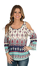 Roper Women's Blue and Red Paisley Border Print Cold Shoulder 3/4 Bell Sleeve Fashion Top
