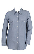 Roper Women's Chambray Long Sleeve Western Snap Shirt- Plus Sizes