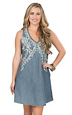 Stetson Women's Denim with Cream Floral Embroidery Sleeveless Dress