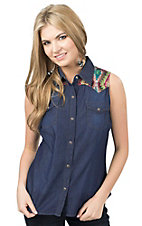 Roper Women's Denim wtih Aztec Yokes Sleeveless Western Shirt