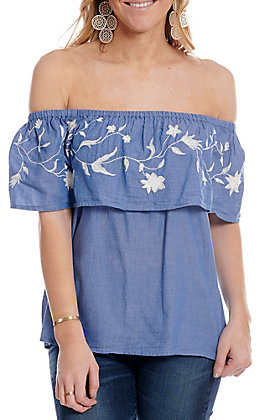 Roper Women's Light Denim with White Floral Embroidered Ruffle Off Shoulder Sleeveless Fashion Top