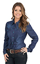 Roper Women's Denim with Turquoise Contrast Stitching Retro Snap Shirt