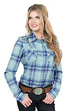 Roper Women's Blue Plaid Long Sleeve Western Shirt