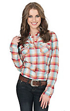 Roper Women's Turquoise & Red Plaid Long Sleeve Western Shirt