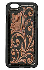 Nocona Black and Tan Leather Tooled Floral Scroll iPhone 6 Case
