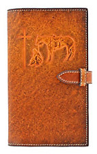 M&F Western Products Brown Leather Cowboy Prayer Embossed Small Bible Cover