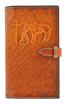M&F Western Brown Leather Praying Cowboy Embossed Small Bible Cover