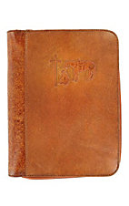 M&F Western Products Brown Leather Cowboy Prayer Embossed Large Bible Cover