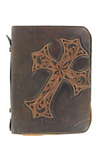 M&F Western Products Dark Brown Diagonal Cross Large Bible Cover