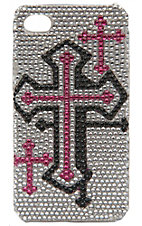 M&F Western Products Silver, Pink & Black Bling Cross iPhone 4 Case