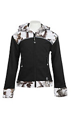Roper Girl's Black with Camo Accents Long Sleeve Zip Up Jacket