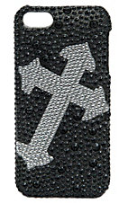 Blazin Roxx Black with Silver Angled Cross Bling iPhone 5 Case