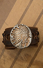 Jewelry Junkie Brown Leather with Chief Coin Cuff Bracelet