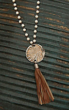 Jewelry Junkie White Beaded with Chief and Tassel Pendant Necklace