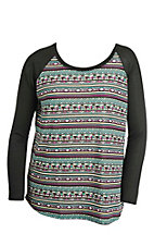 Roper Women's Aztec Print with Long Black Knit Sleeves Casual Knit Top - Plus Size