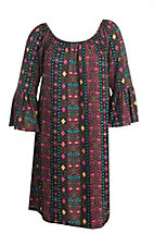 Roper Women's Aztec Print with Long Bell Sleeves Peasant Dress - Plus Size