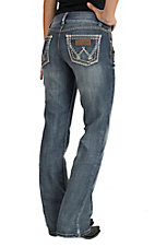Wrangler Retro Women's Dark Wash with Open Pockets Sadie Low Rise Boot Cut Jeans