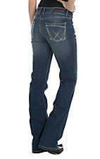Wrangler Retro Women's Dark Wash with Open Pockets Mid Rise Boot Cut Jeans