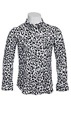 Roper Girls White & Black Cheetah Print with Shiny Finish Long Sleeve Western Shirt
