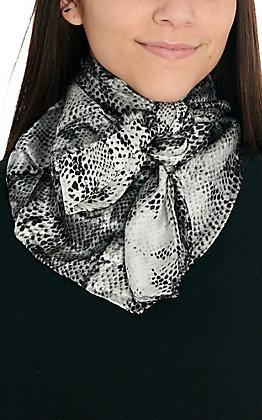 Grey & Black Snake Print Silk Wild Rags Scarf