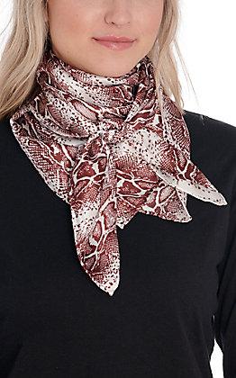 Burgundy & Cream Snake Print Silk Wild Rags Scarf