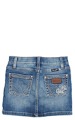 Wrangler Retro Girls Medium Wash with Rose Embroidery Denim Skirt