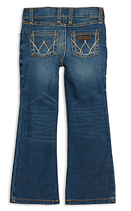 Wrangler Girls' Dark Wash With Stitch Patch Boot Cut Jeans
