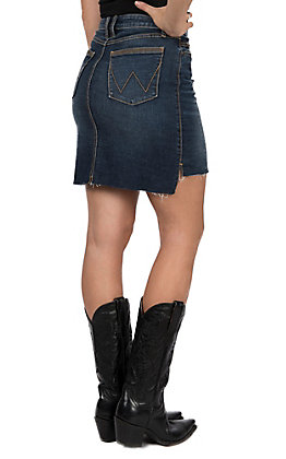 Wrangler Retro Mae Women's Cowtown Mid-Rise Hi-Lo Denim Skirt