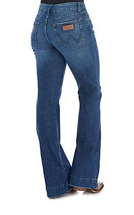 Wrangler Retro Women's Dark Wash Mid Rise Wide Leg Trouser Jeans