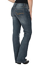 Wrangler Premium Denim Basic Dark Wash Mid Rise Boot Cut Jeans