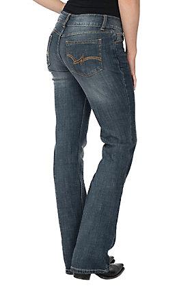 Wrangler Premium Denim Basic Dark Wash Mid Rise Boot Cut Jeans