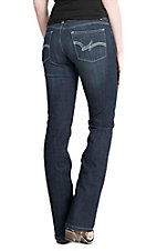 Wrangler Women's Dark Wash with Cream Embroidered Open Back Pockets Slim Fit Jeans