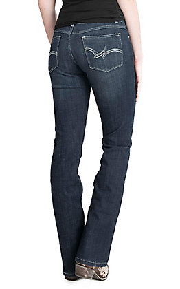 Wrangler Women's Mae Dark Wash Mid Rise Boot Cut Jeans