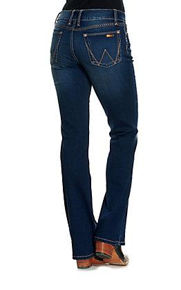 Wrangler Retro Women's Mae Dark Wash Mid Rise Boot Cut Jeans