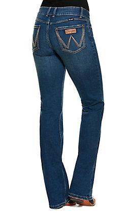 Wrangler Women's Mae Dark Wash Mid Rise Boot Cut Jeans