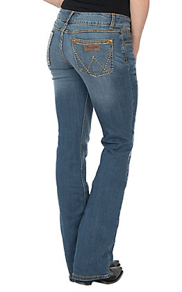 Wrangler Retro Women's Mae Mid Rise Medium Wash Classic Patch Boot Cut Jeans