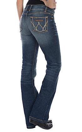 Wrangler Retro Women's Mae Mid Rise Dark Wash Boot Cut Jeans