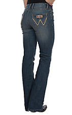 Wrangler Women's Mae Mid Rise Leather W Retro Boot Cut Jean