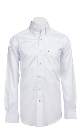 Ariat Men's Solid White Long Sleeve Western Shirt - Big & Tall