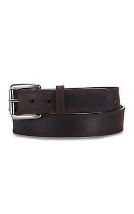 Ariat Men's Dark Copper Brown Triple Stitch Basic Belt
