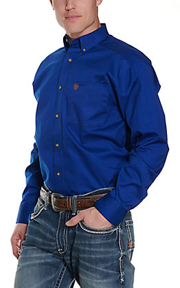 Ariat Men's Solid Blue Long Sleeve Western Shirt