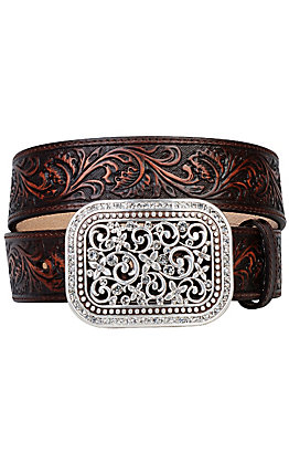 Ariat Women's Brown Rhinestone Fillagree Belt