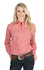 Ariat Women's Coral and Blue Diamond Print Long Sleeve Western Shirt