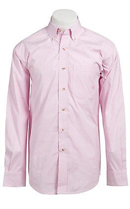 Ariat Men's L/S Balin Pink & White Western Stripe Shirt 10010360