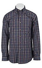 Ariat Men's L/S Drake Purple Western Plaid Shirt 10011456