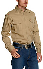 Ariat Work FR Men's Solid Khaki Long Sleeve Flame Resistant Work Shirt