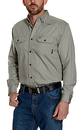 Ariat Men's Solid Silver Fox Long Sleeve FR Work Shirt - Big & Tall